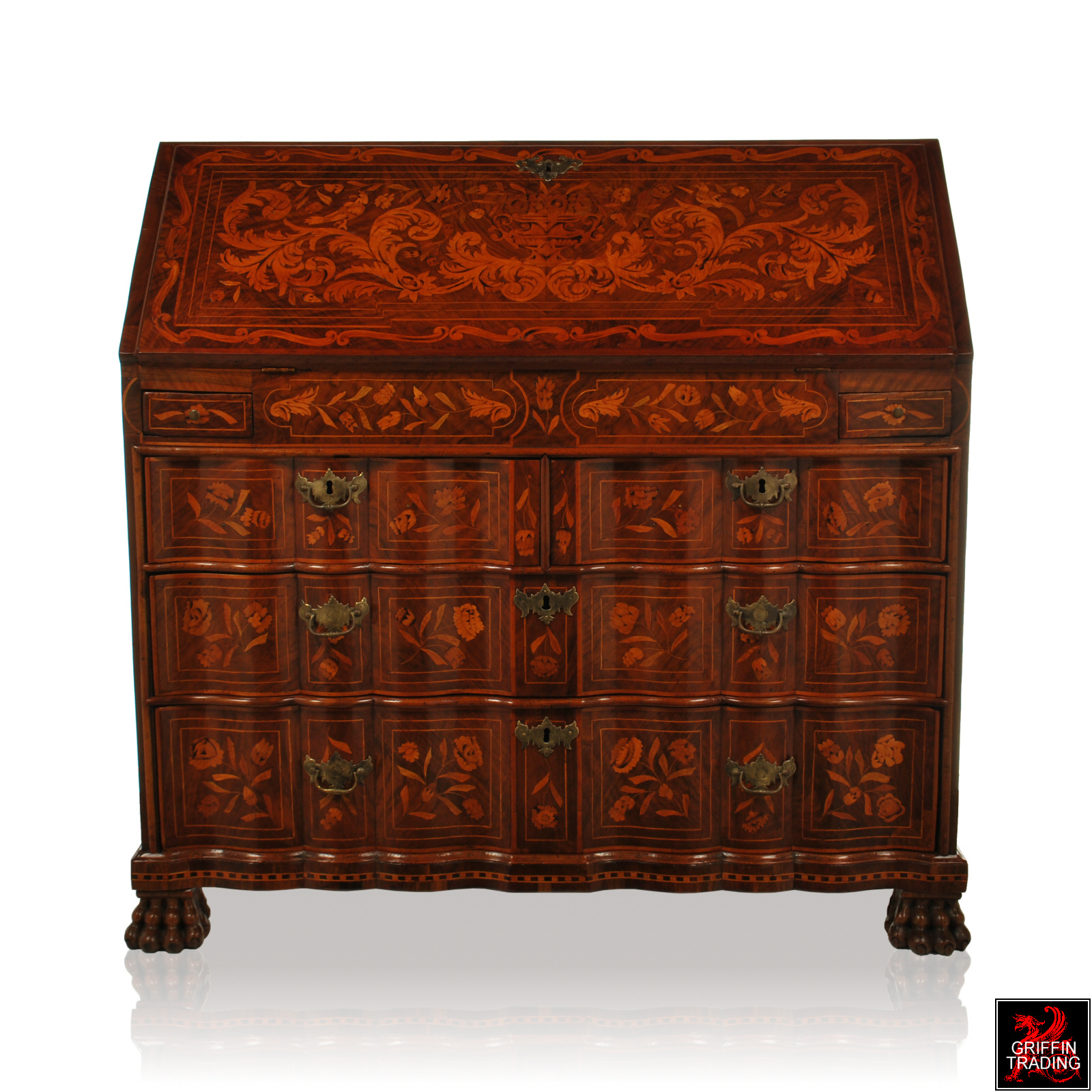 This Splendid Walnut Drop Front Desk Secretary Secretaire Bureau Dates Around The 1780 S And Is Completely Covered With A Beautiful Fl Urn