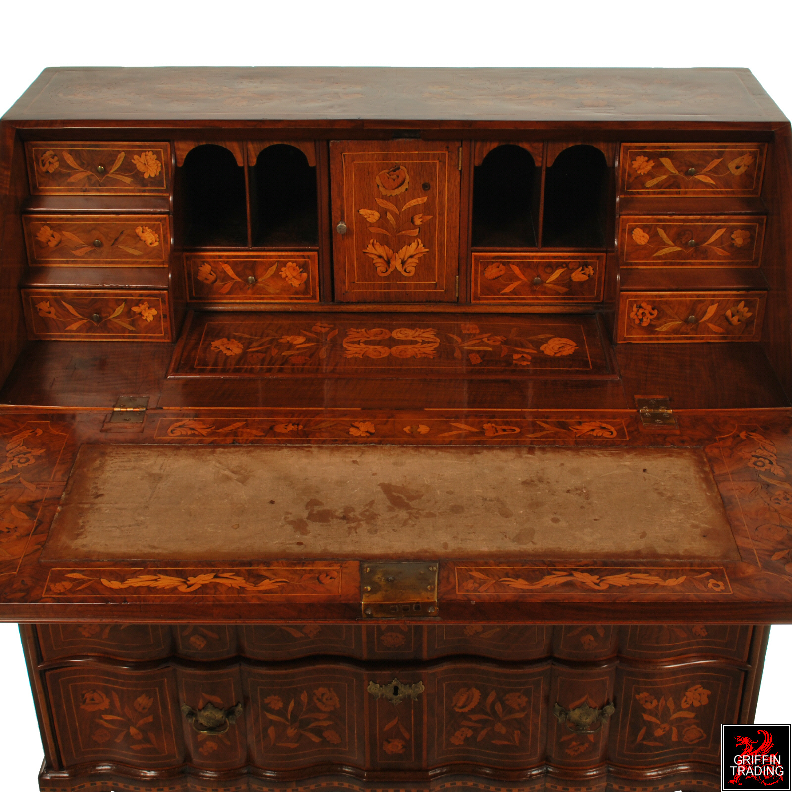 Fine Dutch Marquetry Drop Front Secretary Or Desk 18th