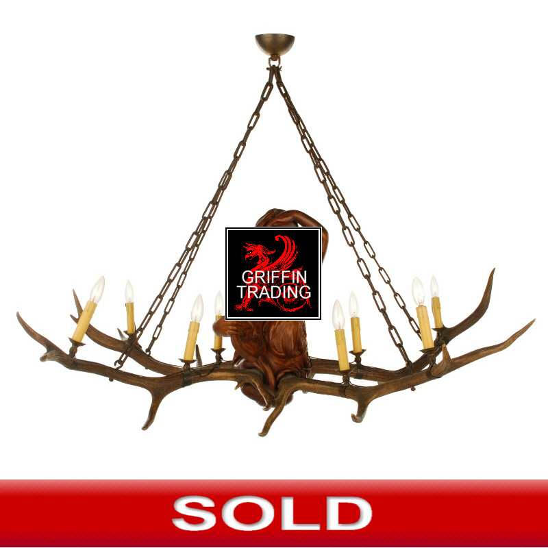 Large Bavarian Hardwood Figural Chandelier With Antlers