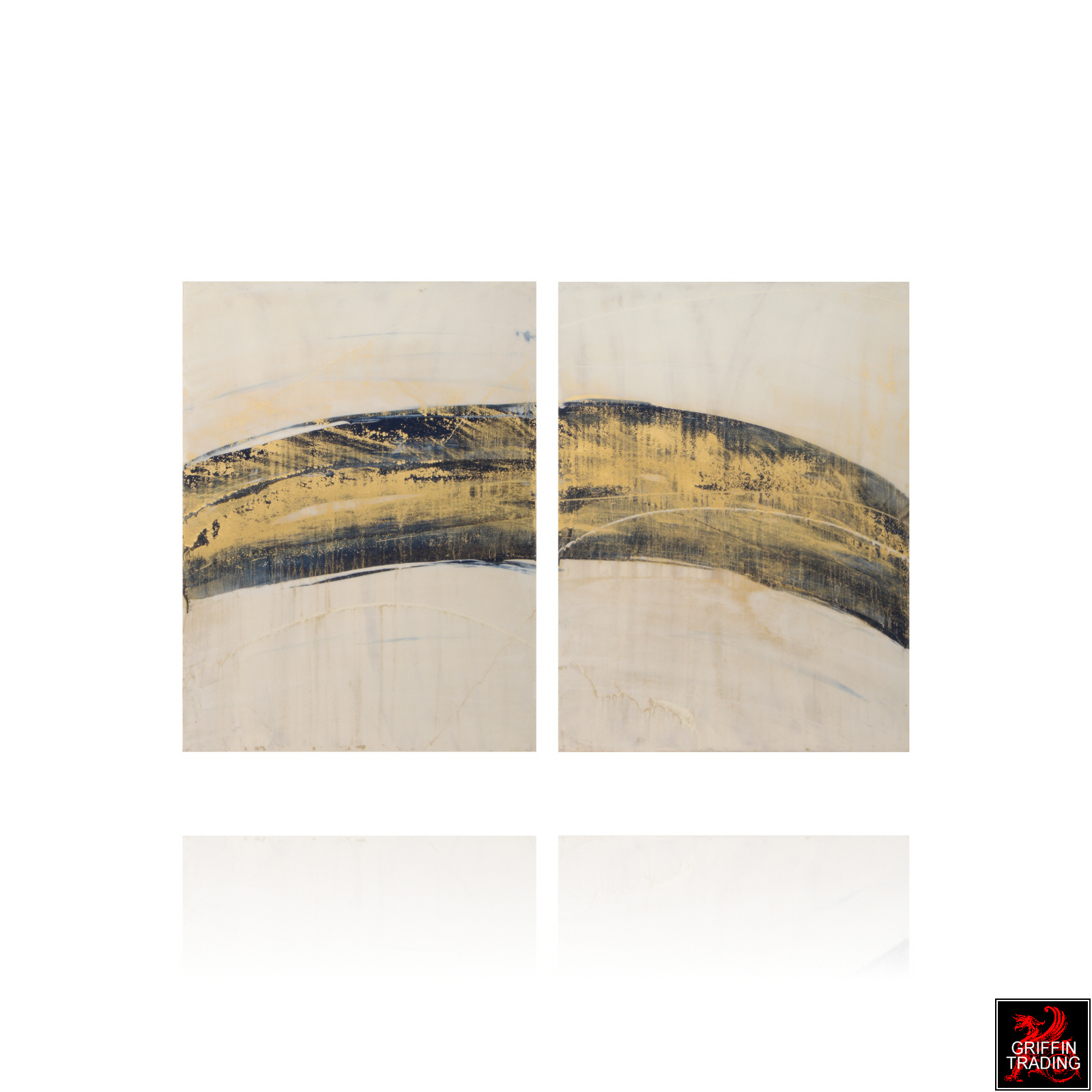 Diptych Abstract Painting 8640-1