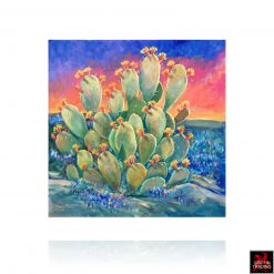 Hardy Martin Painting Sunset Cactus with Bluebonnets