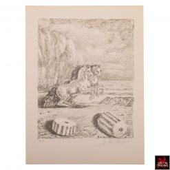 Giorgio de Chirico Lithograph titled Cavalli