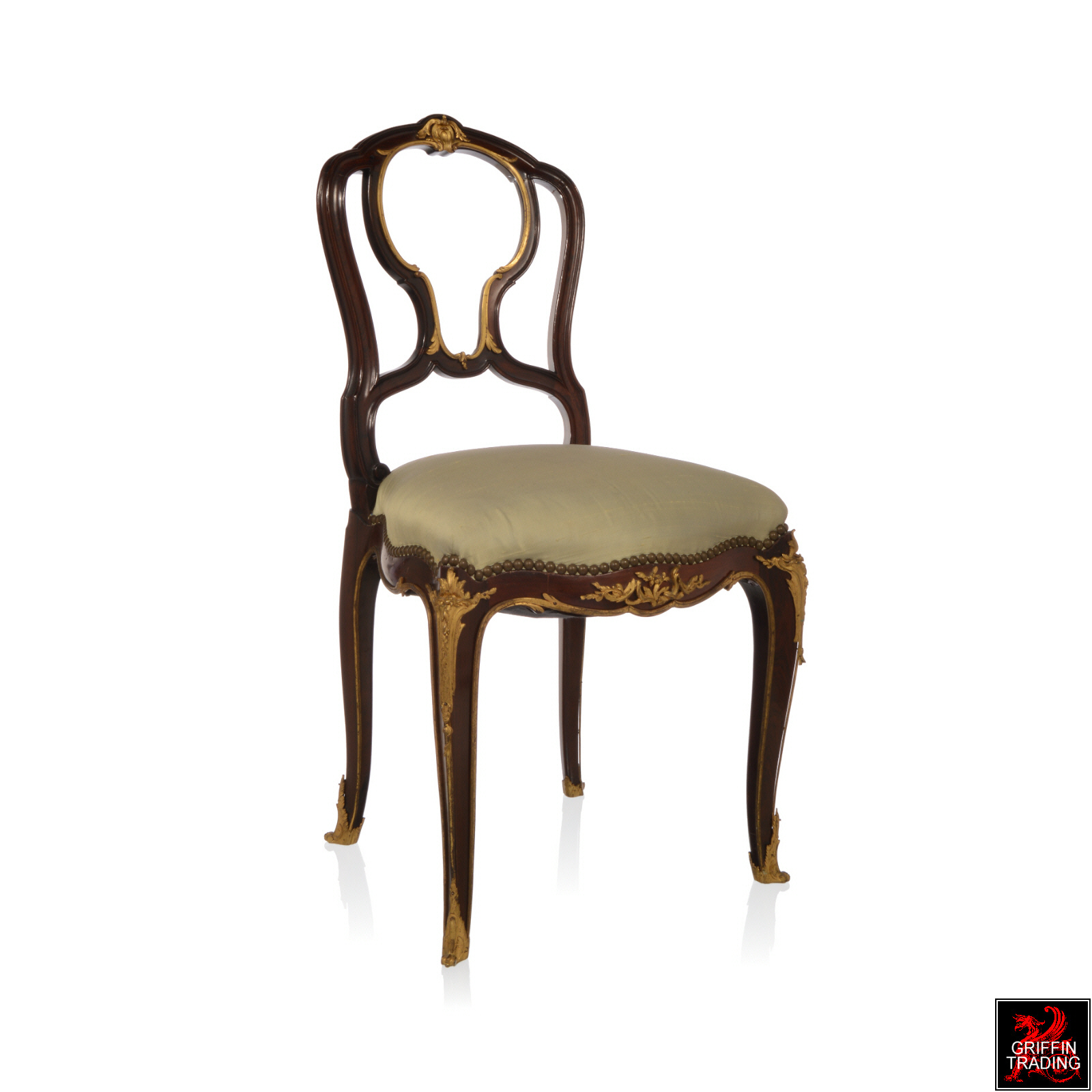Francois Linke Louis XV Chair with Gilt Bronze Mounts