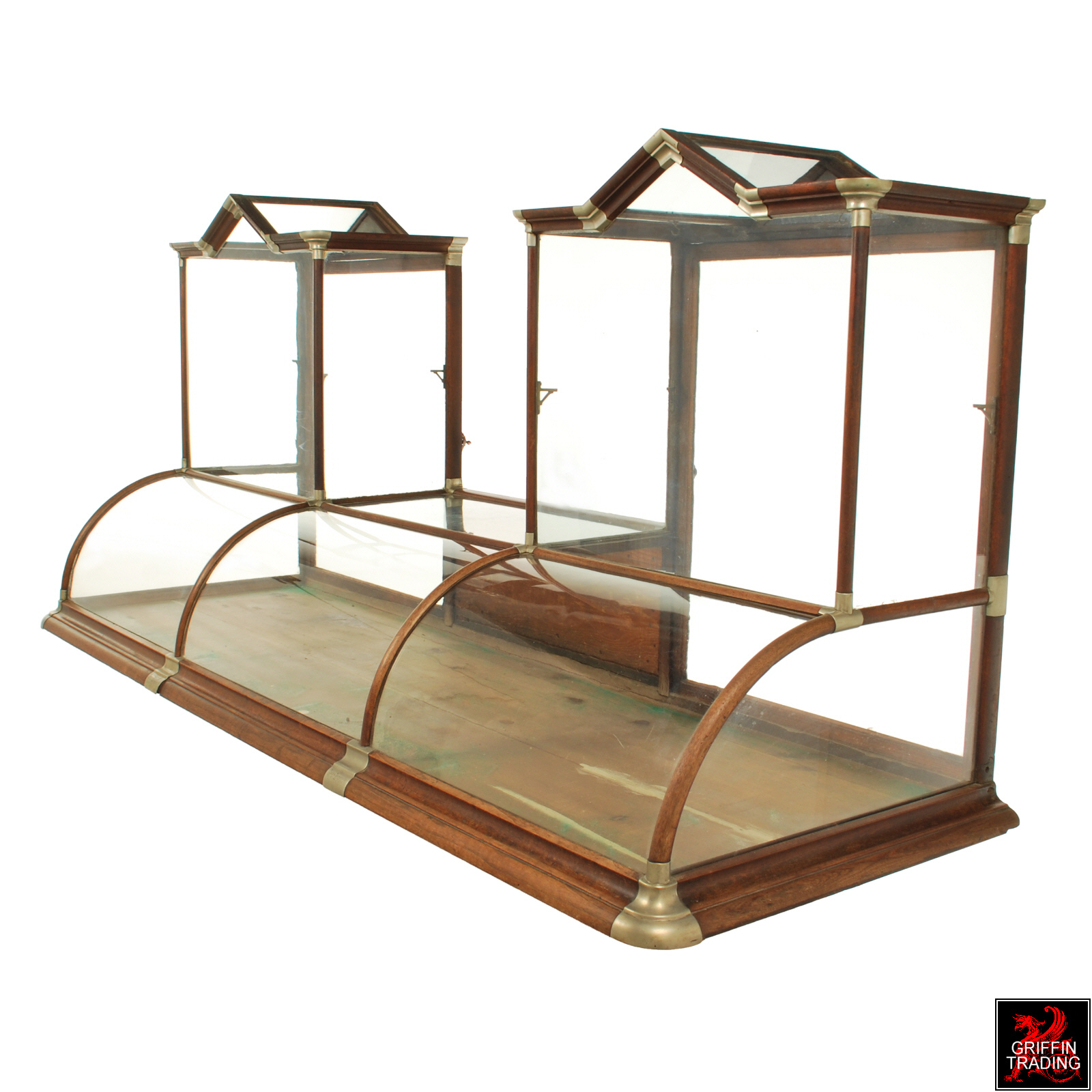 Antique Curved Glass Counter Top Display Case - Mid-Century Modern ...