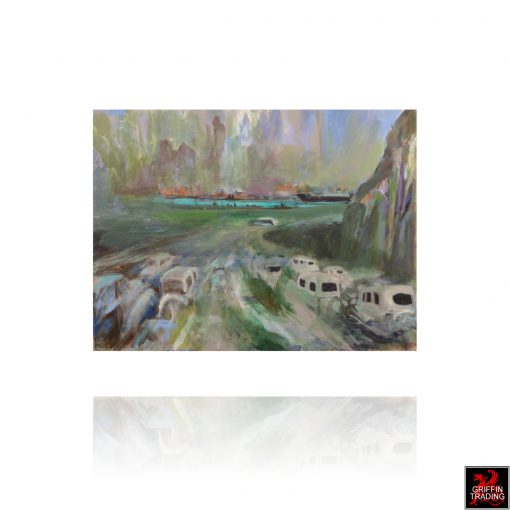 Approaching The Holland Tunnel a painting by Nik Puspurica
