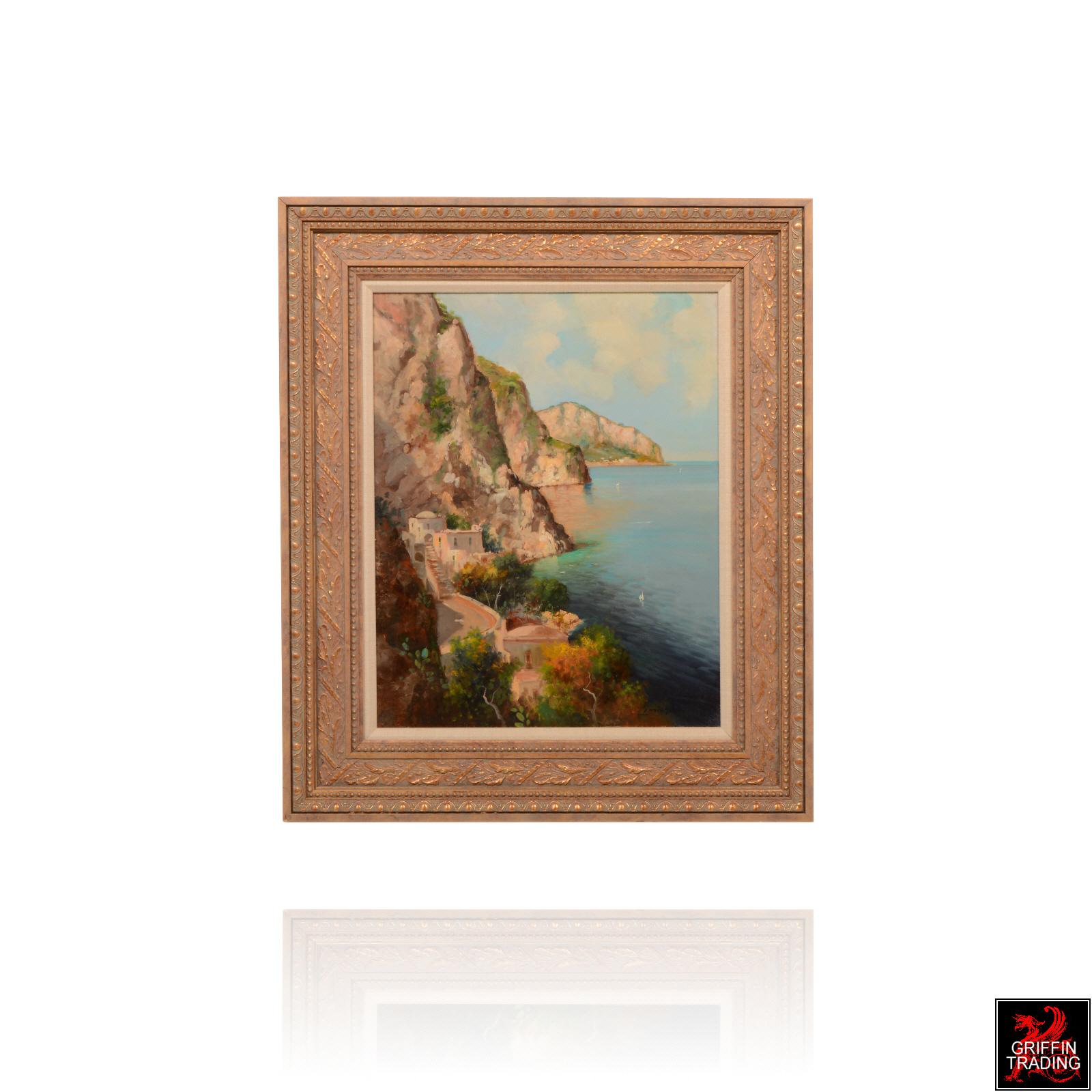 Amalfi Coast seascape painting with gold frame.