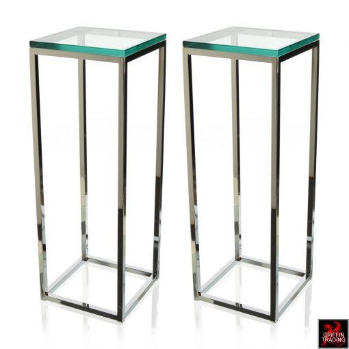 Milo Baughman Chrome And Glass Pedestals