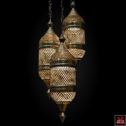 Vintage Moroccan Moorish hanging lamp in brass.