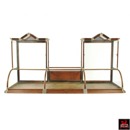 H. Pauk & Sons Antique Curved Glass Countertop Showcase with Gable Tops