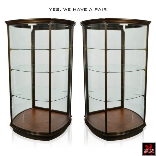 Pair of Curved Glass Display Cases and Vitrines