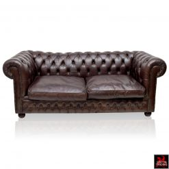 English Vintage Leather Chesterfield Sofa