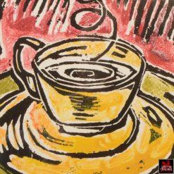 COFFEE TIME Lino Print by artist Lori Maclean