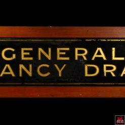 Antique Fancy Drapery Glass Sign