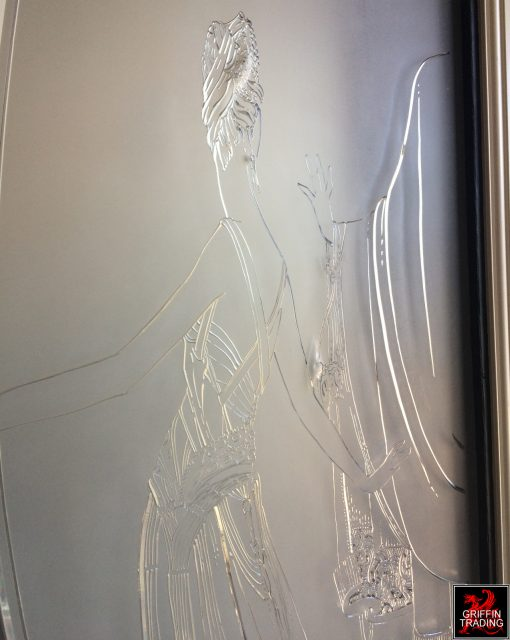 Etched glass panels from a women's boutique.