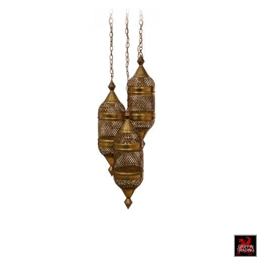 Vintage Moroccan Moorish hanging lamp in brass.