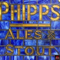 Phipps Ales and Stout Sign Stain Glass Window